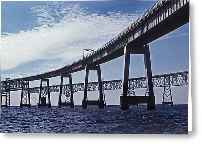 Ocean Art Photography Greeting Cards - Chesapeake Bay Bridge Greeting Card by Skip Willits
