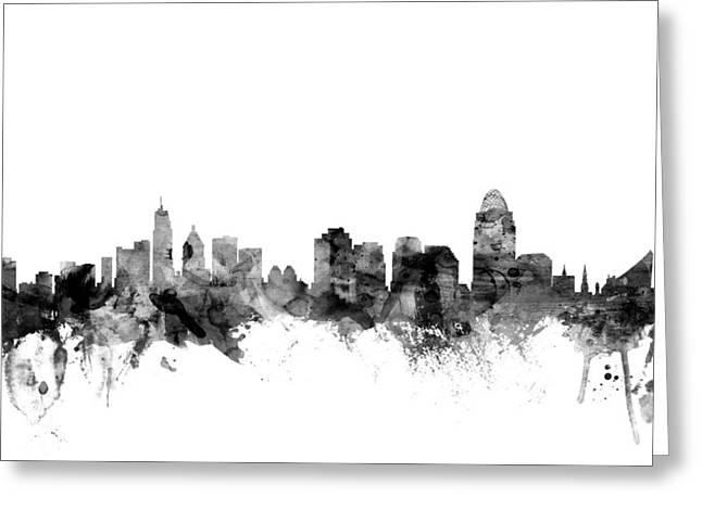 Cincinnati Skyline Greeting Cards - Cincinnati Ohio Skyline Greeting Card by Michael Tompsett