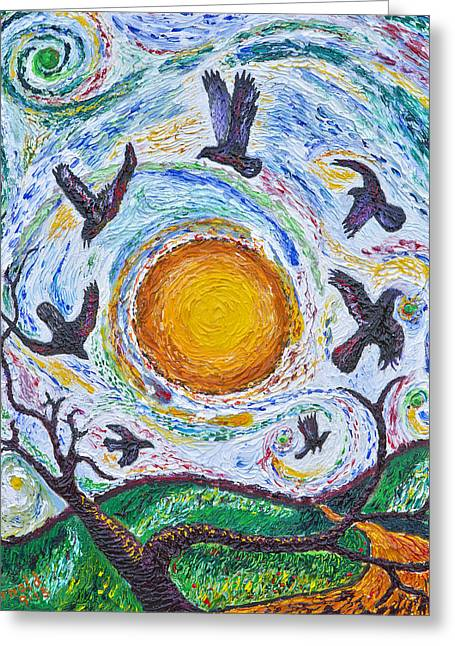 7 Crows At Sunset Greeting Card by Arnold Bernstein