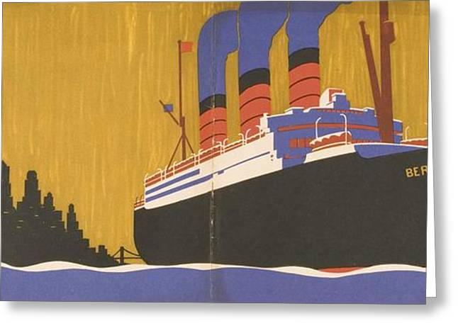Boat Cruise Drawings Greeting Cards - Cunard Line Promotional Brochure For Greeting Card by Vintage Design Pics