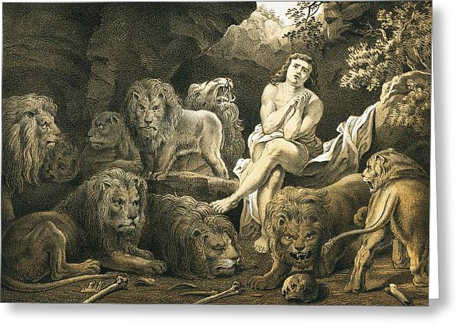 Daniel In The Lion's Den Greeting Card by English School