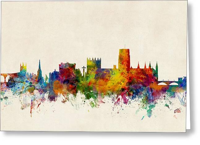 Michael Digital Greeting Cards - Durham England Skyline Cityscape Greeting Card by Michael Tompsett