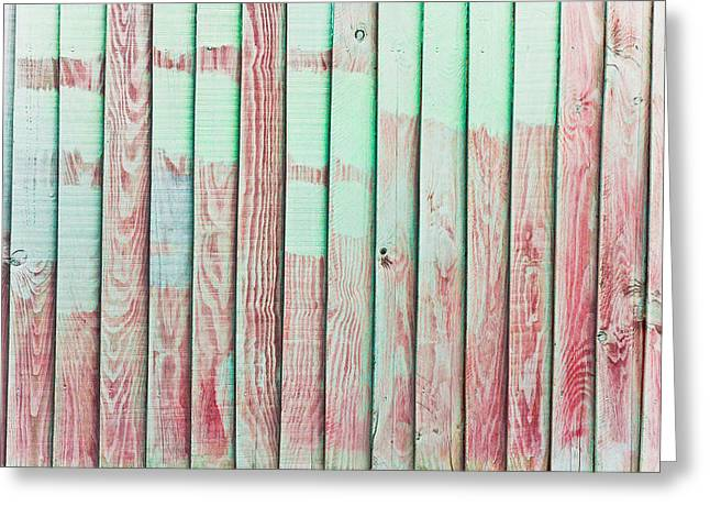 Patterned Pavement Greeting Cards - Fence panels Greeting Card by Tom Gowanlock