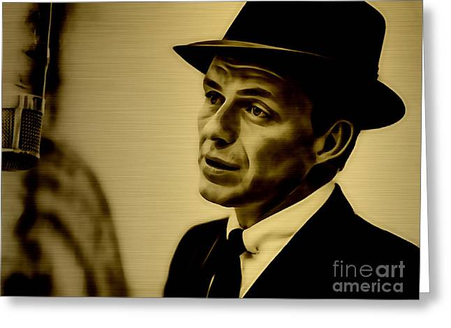 Gold Greeting Cards - Frank Sinatra Collection Greeting Card by Marvin Blaine