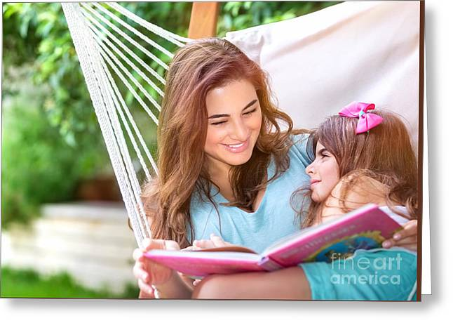 Person Greeting Cards - Happy family outdoors Greeting Card by Anna Omelchenko