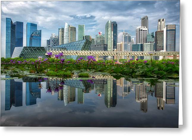 Day Lilly Greeting Cards - Landscape of Singapore city Greeting Card by Anek Suwannaphoom