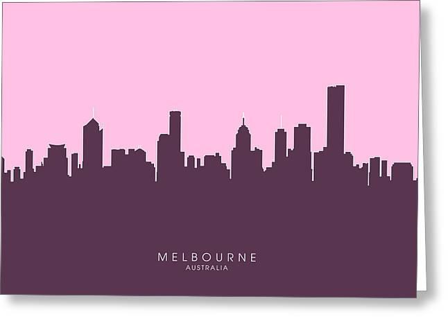 Melbourne Skyline Greeting Card by Michael Tompsett