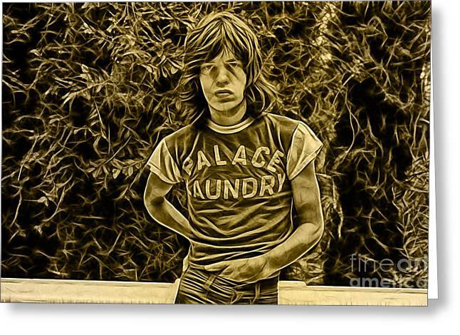 Rolling Stones Mixed Media Greeting Cards - Mick Jagger Collection Greeting Card by Marvin Blaine