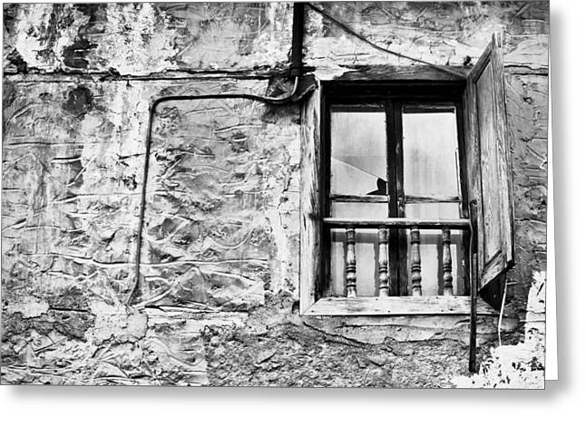 Bannister Greeting Cards - Old window Greeting Card by Tom Gowanlock