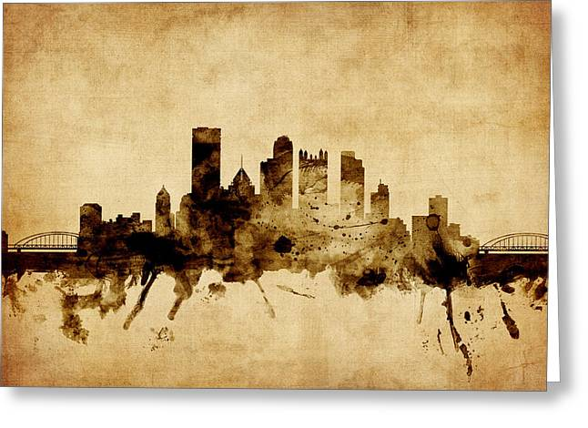 Pittsburgh Skyline. Greeting Cards - Pittsburgh Pennsylvania Skyline Greeting Card by Michael Tompsett