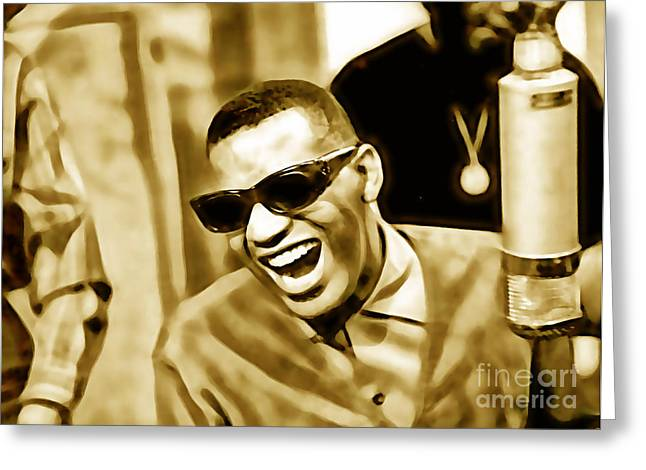 Singer Greeting Cards - Ray Charles Collection Greeting Card by Marvin Blaine