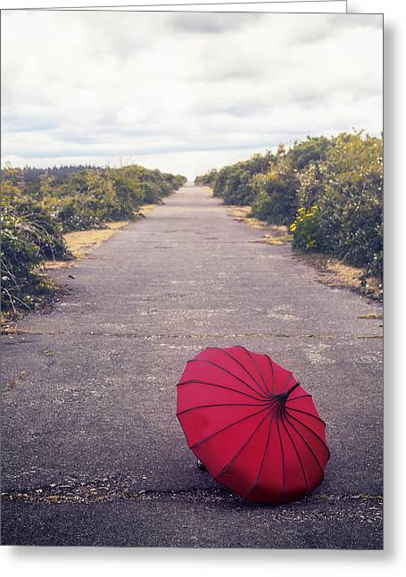 Umbrellas Photographs Greeting Cards - Red Umbrella Greeting Card by Joana Kruse