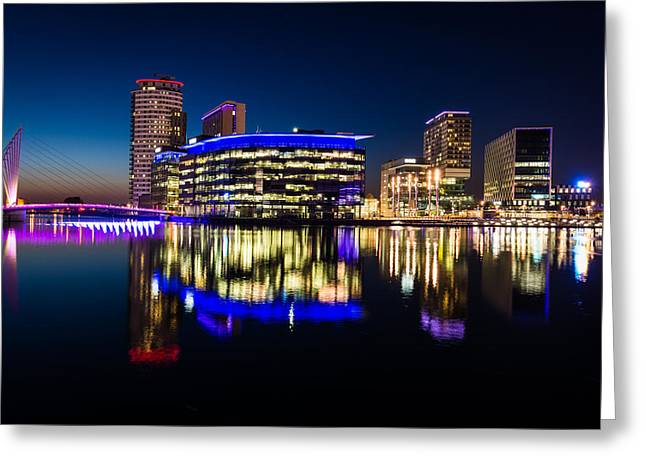 Famous Bridge Greeting Cards - Salford Quays Manchester England. Greeting Card by Daniel Kay
