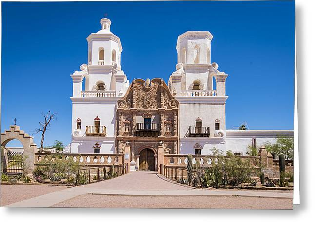 The Church Greeting Cards - San Xavier del Bac Mission - Tucson Arizona Greeting Card by Jon Berghoff