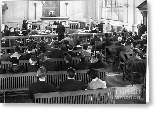 Interior Scene Photographs Greeting Cards - Silent Still: Courtroom Greeting Card by Granger