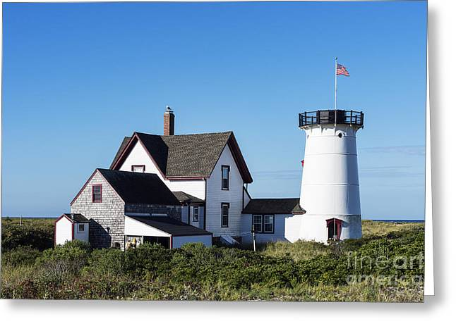 Stage Harbor Lighthouse Greeting Card by John Greim