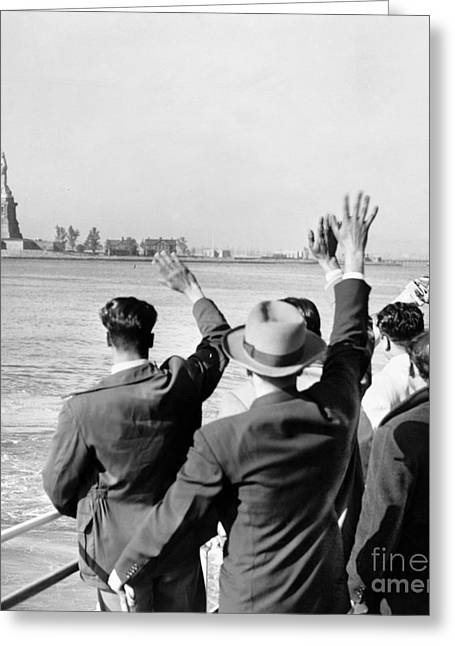 Gestures Greeting Cards - Statue Of Liberty Greeting Card by Granger