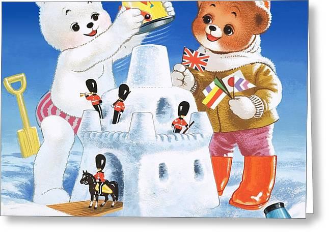 Drawbridge Greeting Cards - Teddy Bear Christmas Card Greeting Card by William Francis Phillipps