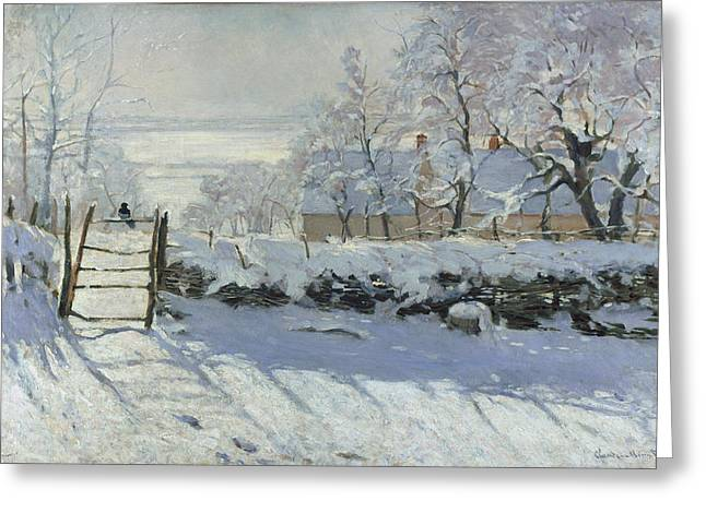 Snowscape Paintings Greeting Cards - The Magpie Greeting Card by Claude Monet