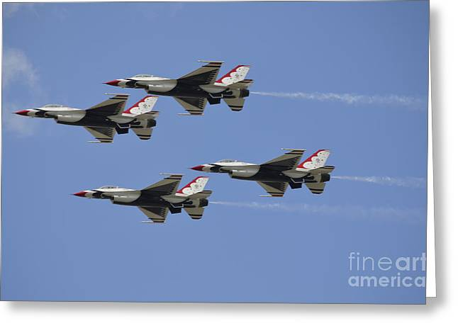 Aerobatics Greeting Cards - The U.s. Air Force Thunderbirds Fly Greeting Card by Stocktrek Images