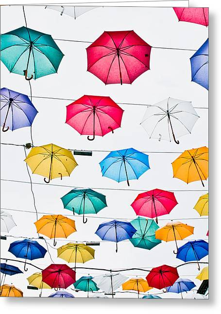 Difference Greeting Cards - Umbrellas Greeting Card by Tom Gowanlock