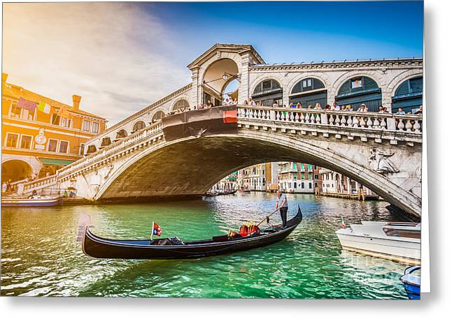 Gondolier Greeting Cards - Venice Sunset Greeting Card by JR Photography