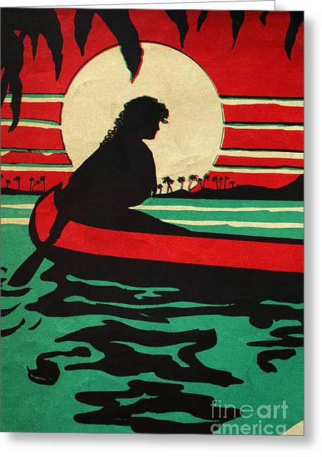 Canoe Paintings Greeting Cards - Vintage Hawaiian Art Greeting Card by Hawaiian Legacy Archive - Printscapes