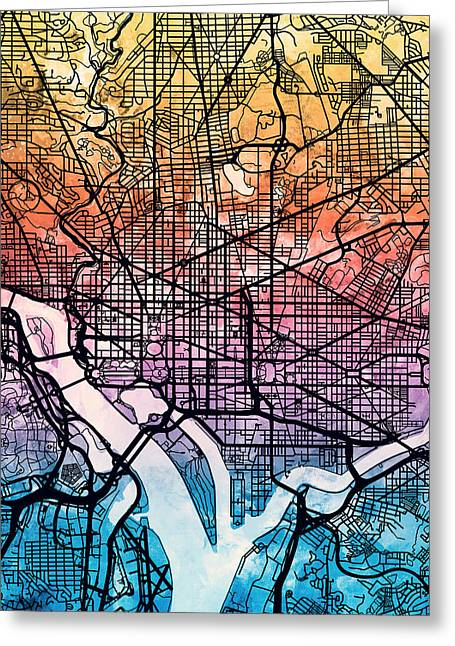 District Of Columbia Greeting Cards - Washington DC Street Map Greeting Card by Michael Tompsett