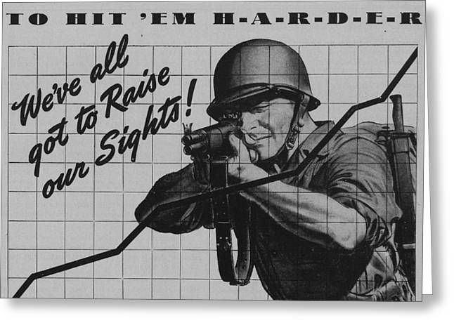 Aiming Greeting Cards - World War II Advertisement Greeting Card by American School