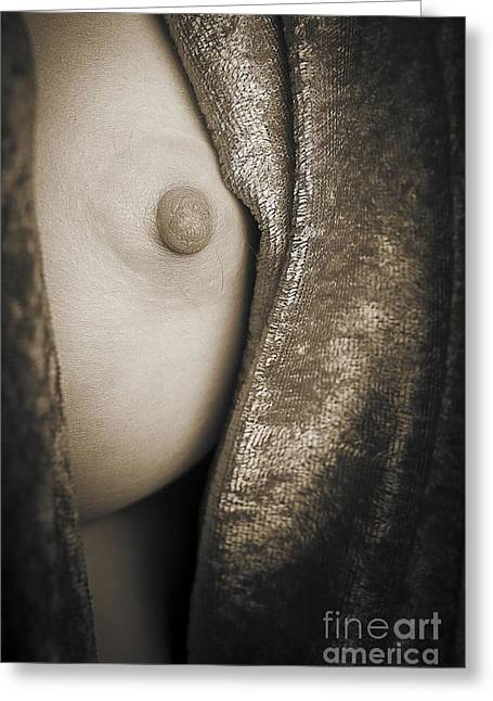 Model 3001.001 Fine Alby Green Nude Fine Art Print Girl Photo In Bla Greeting Card by Kendree Miller