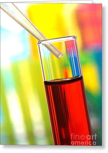 Experiment Photographs Greeting Cards - Laboratory Experiment in Science Research Lab Greeting Card by Olivier Le Queinec