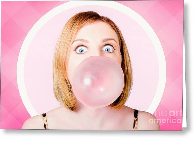 70s Pin-up Girl Blowing Pink Bubble Gum Ball Greeting Card by Jorgo Photography - Wall Art Gallery