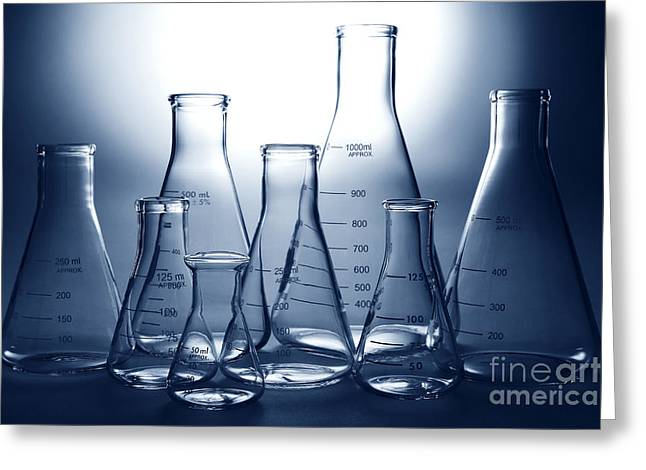 Backlit Greeting Cards - Laboratory Equipment in Science Research Lab Greeting Card by Olivier Le Queinec