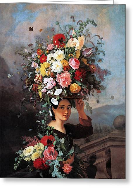 Women With Roses Greeting Cards - The Gardner Girl Greeting Card by Simon Saint Jean