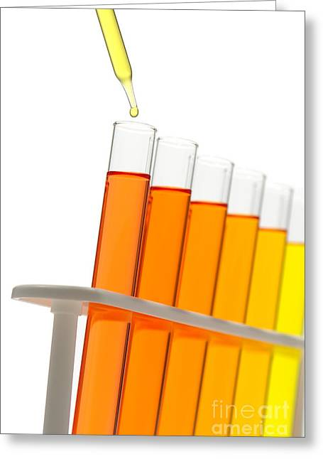 Analysis Greeting Cards - Test Tubes in Science Research Lab Greeting Card by Olivier Le Queinec