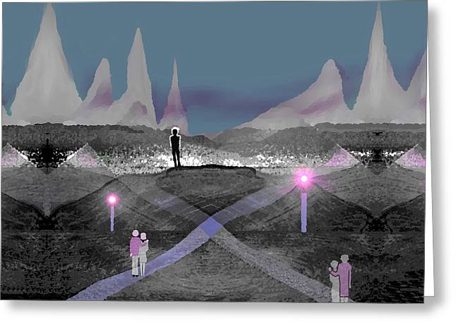 737 Greeting Cards - 737 - Dusk - men in landscape   Greeting Card by Irmgard Schoendorf Welch