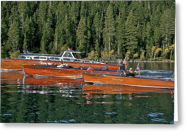 Runabout Greeting Cards - Classic Wooden Runabouts Greeting Card by Steven Lapkin