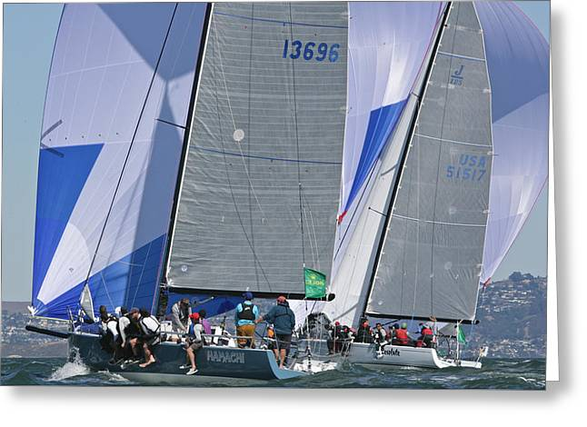 Sailboat Photos Greeting Cards - Rolex Regatta San Francisco Greeting Card by Steven Lapkin