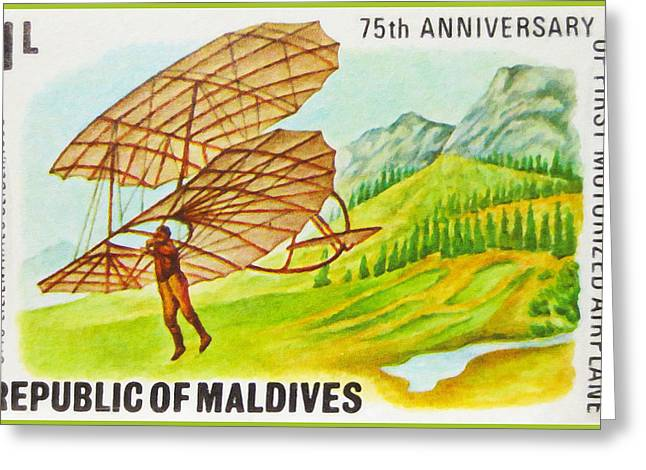 Paper Airplanes Paintings Greeting Cards - 75th Anniversary Of First Motorized Airplane Greeting Card by Lanjee Chee