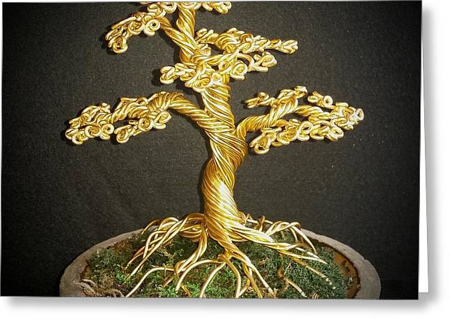 Tree Roots Greeting Cards - #76 Golden bonsai wire tree sculpture Greeting Card by Ricks  Tree Art
