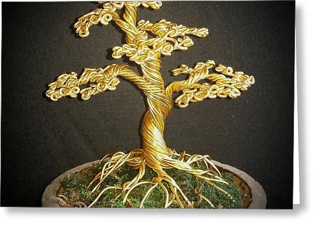 Etc. Sculptures Greeting Cards - #76 Golden bonsai wire tree sculpture Greeting Card by Ricks  Tree Art