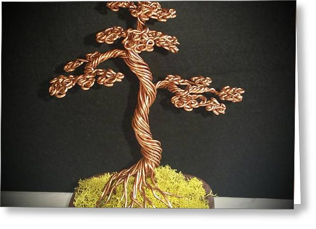 Etc. Sculptures Greeting Cards - #77 Copper bonsai tree wire sculpture Greeting Card by Ricks  Tree Art