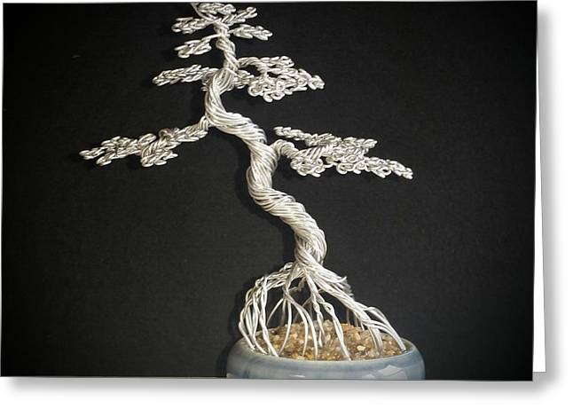 Etc. Sculptures Greeting Cards - #78 Mig wire tree sculpture Greeting Card by Ricks  Tree Art