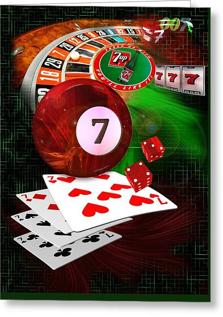 8ball Greeting Cards - 7s Up Greeting Card by Draw Shots