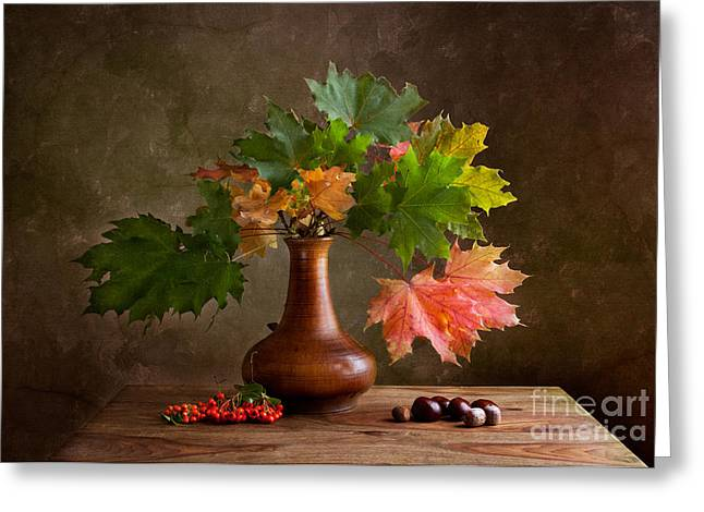 Nut Greeting Cards - Autumn Greeting Card by Nailia Schwarz