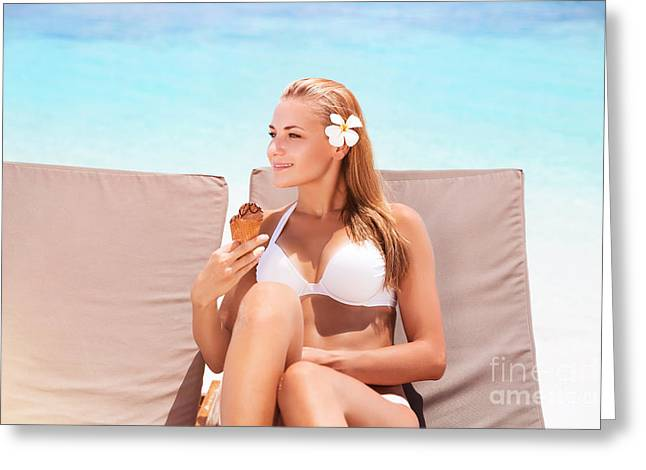 Person Greeting Cards - Beautiful woman on the beach Greeting Card by Anna Omelchenko