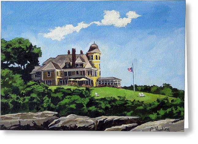 Sand Castles Greeting Cards - Castle Hill Inn Newport Rhode Island Greeting Card by Christine Hopkins
