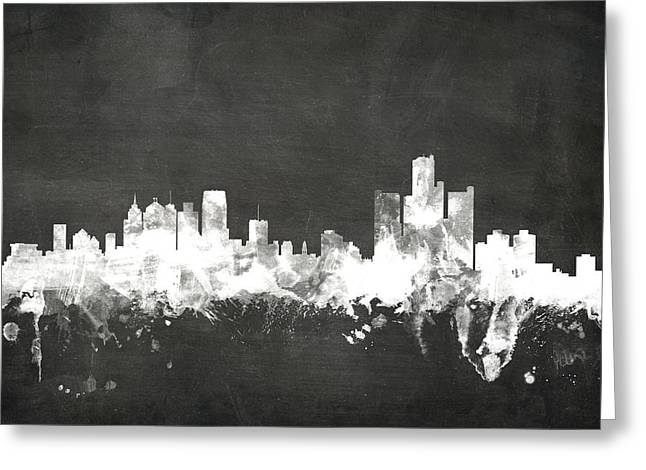 Blackboard Greeting Cards - Detroit Michigan Skyline Greeting Card by Michael Tompsett