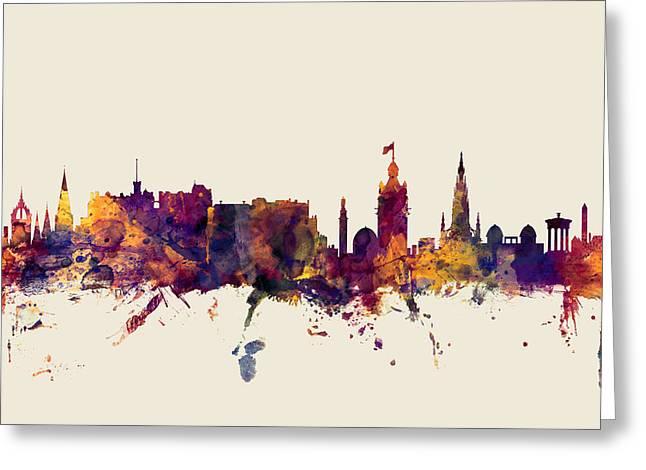 Edinburgh Scotland Skyline Greeting Card by Michael Tompsett