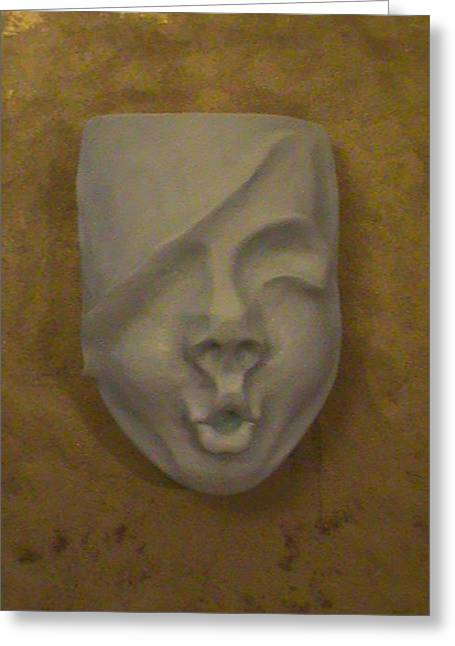 Virgin Sculptures Greeting Cards - Face On The Mask Greeting Card by Alexander Almark